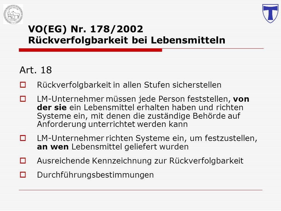 VO(EG) Nr. 178/2002 Rückverfolgbarkeit bei Lebensmitteln