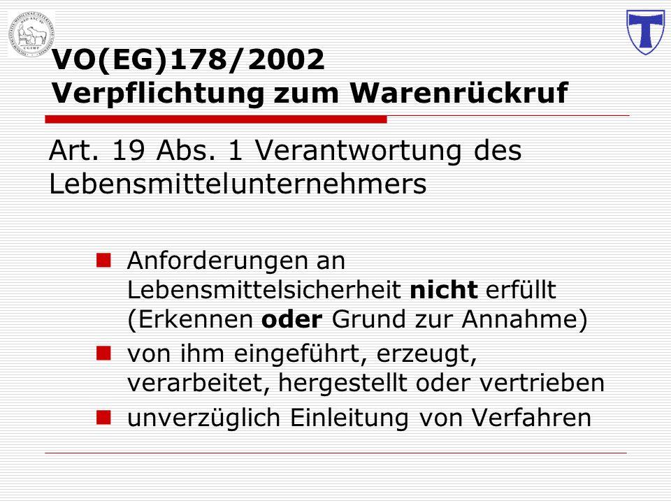 VO(EG)178/2002 Verpflichtung zum Warenrückruf