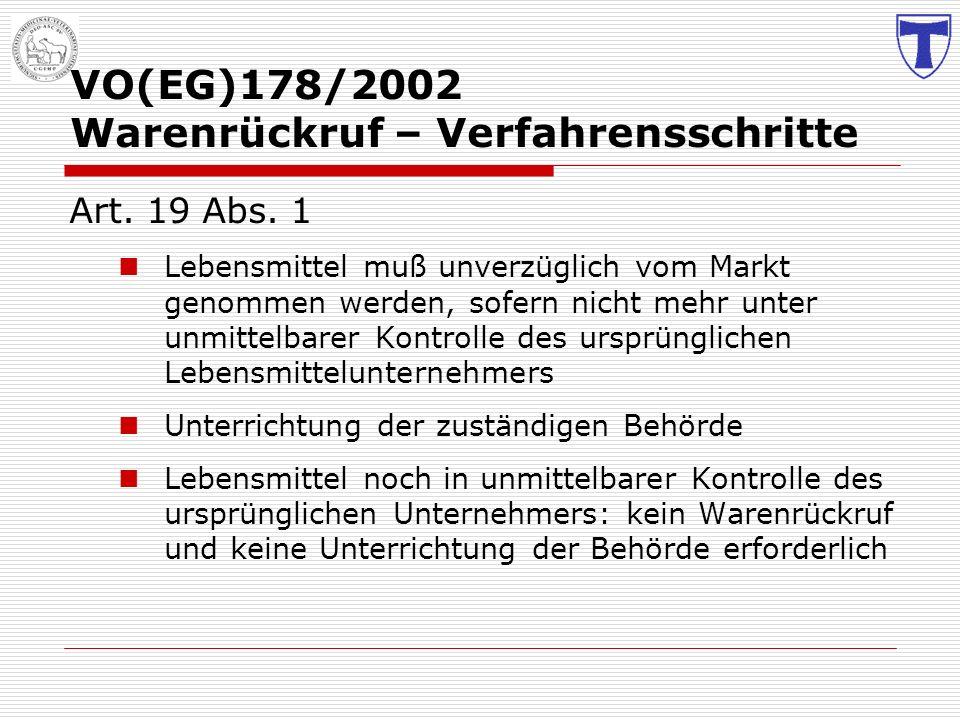 VO(EG)178/2002 Warenrückruf – Verfahrensschritte
