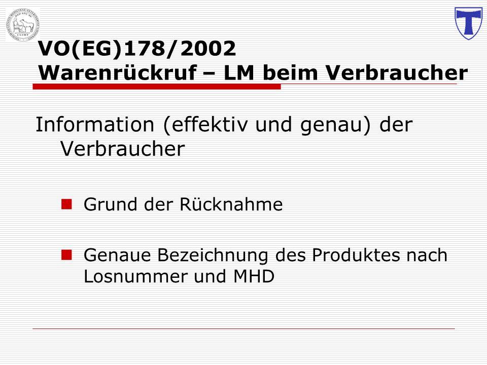 VO(EG)178/2002 Warenrückruf – LM beim Verbraucher