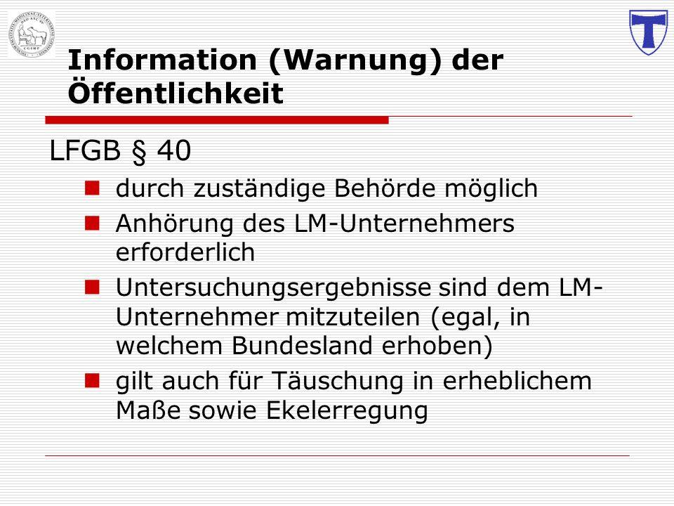 Information (Warnung) der Öffentlichkeit