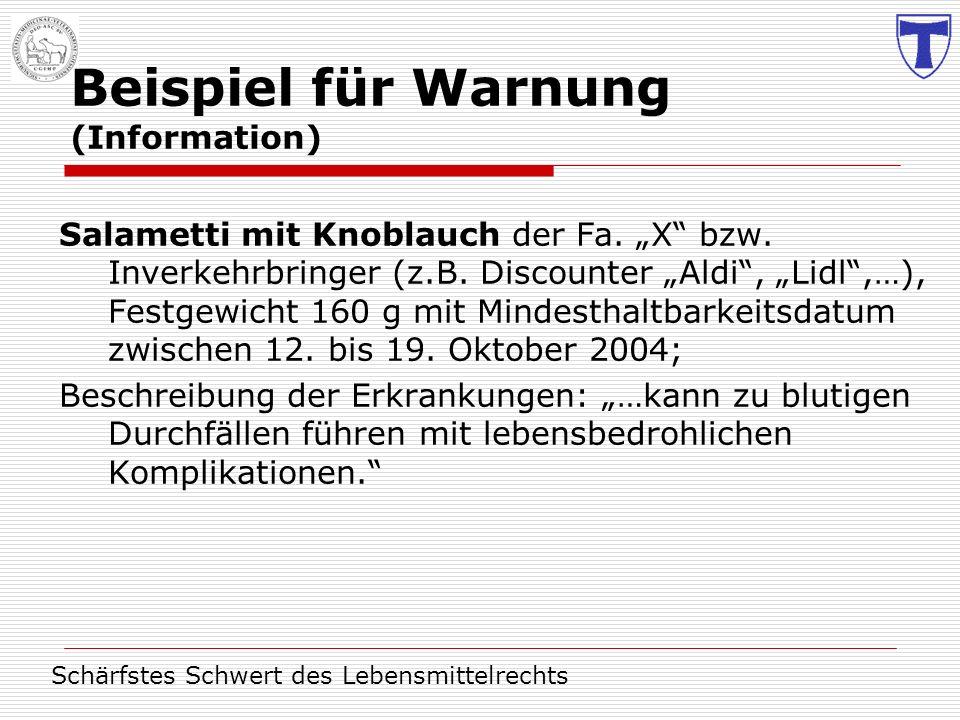 Beispiel für Warnung (Information)