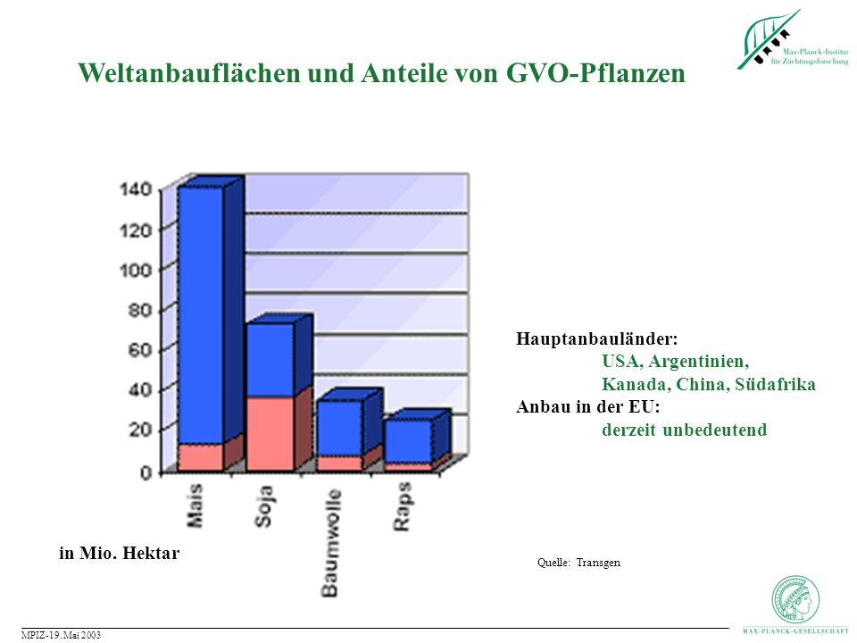 Weltanbauflächen und Anteile von GVO-Pflanzen