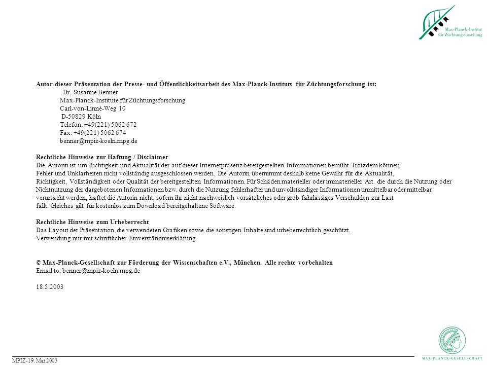 Max-Planck-Institute für Züchtungsforschung Carl-von-Linné-Weg 10