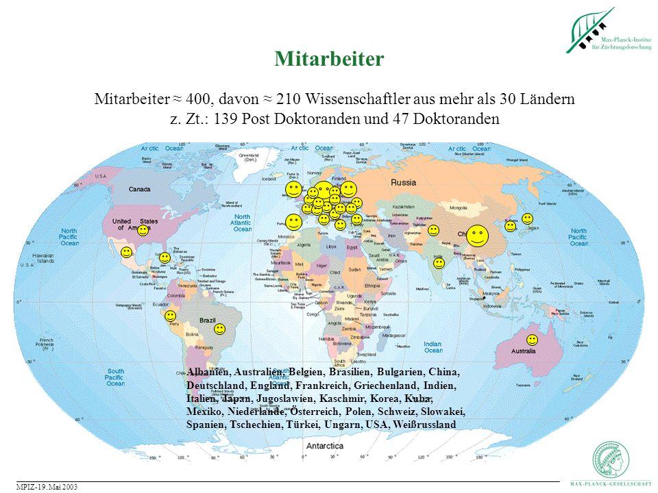 Mitarbeiter Mitarbeiter ≈ 400, davon ≈ 210 Wissenschaftler aus mehr als 30 Ländern. z. Zt.: 139 Post Doktoranden und 47 Doktoranden.