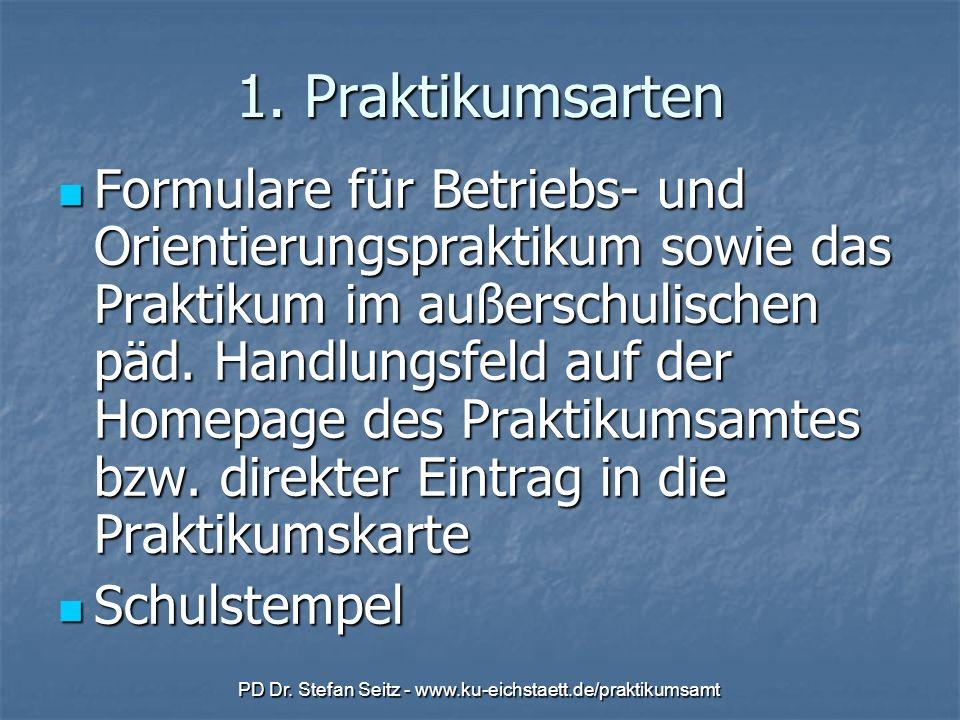 PD Dr. Stefan Seitz - www.ku-eichstaett.de/praktikumsamt