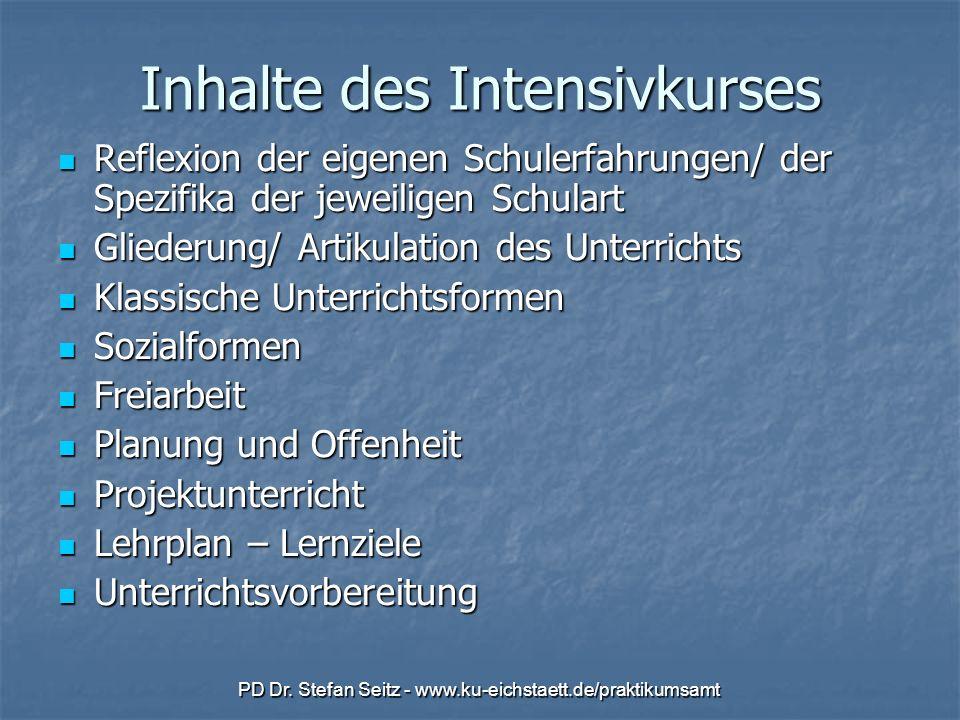 Inhalte des Intensivkurses