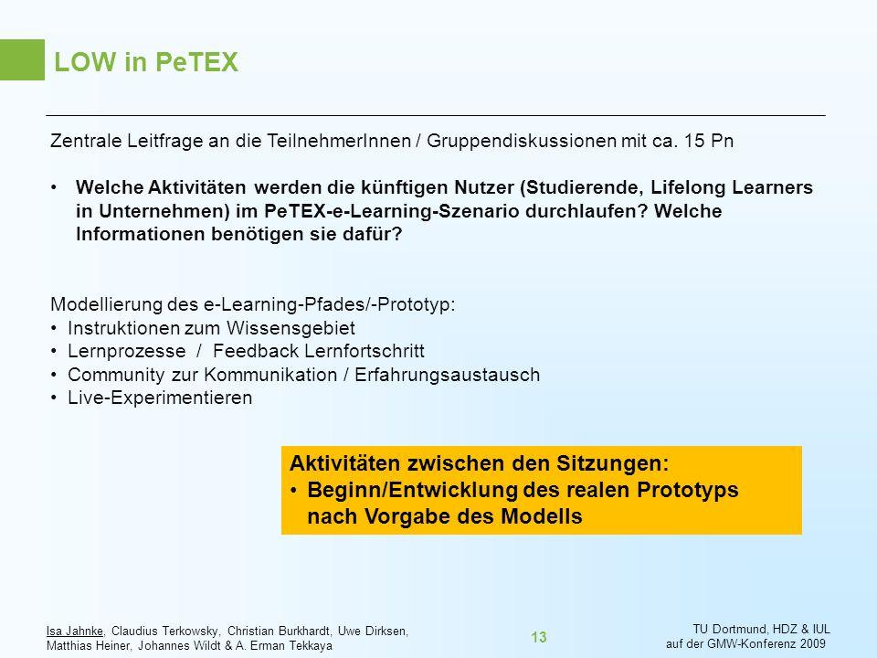 LOW in PeTEX Aktivitäten zwischen den Sitzungen: