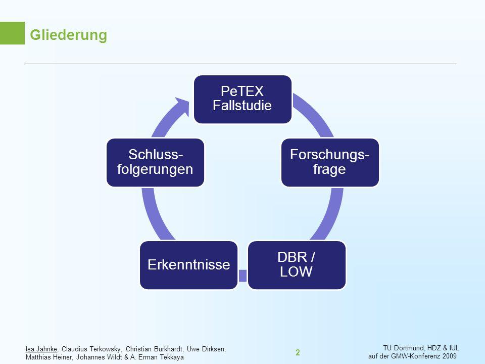 Gliederung PeTEX Fallstudie Forschungs-frage DBR / LOW Erkenntnisse