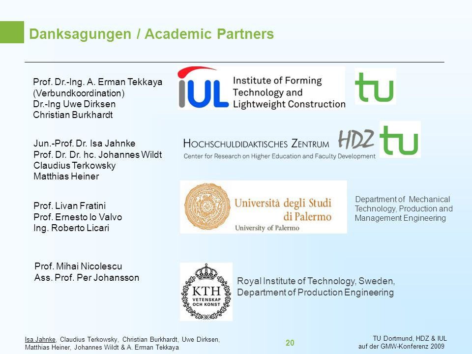 Danksagungen / Academic Partners