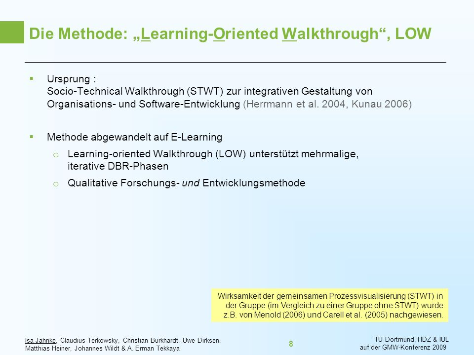 "Die Methode: ""Learning-Oriented Walkthrough , LOW"