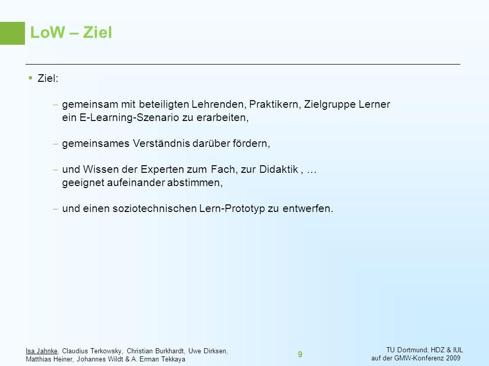LoW – Ziel Ziel: gemeinsam mit beteiligten Lehrenden, Praktikern, Zielgruppe Lerner ein E-Learning-Szenario zu erarbeiten,