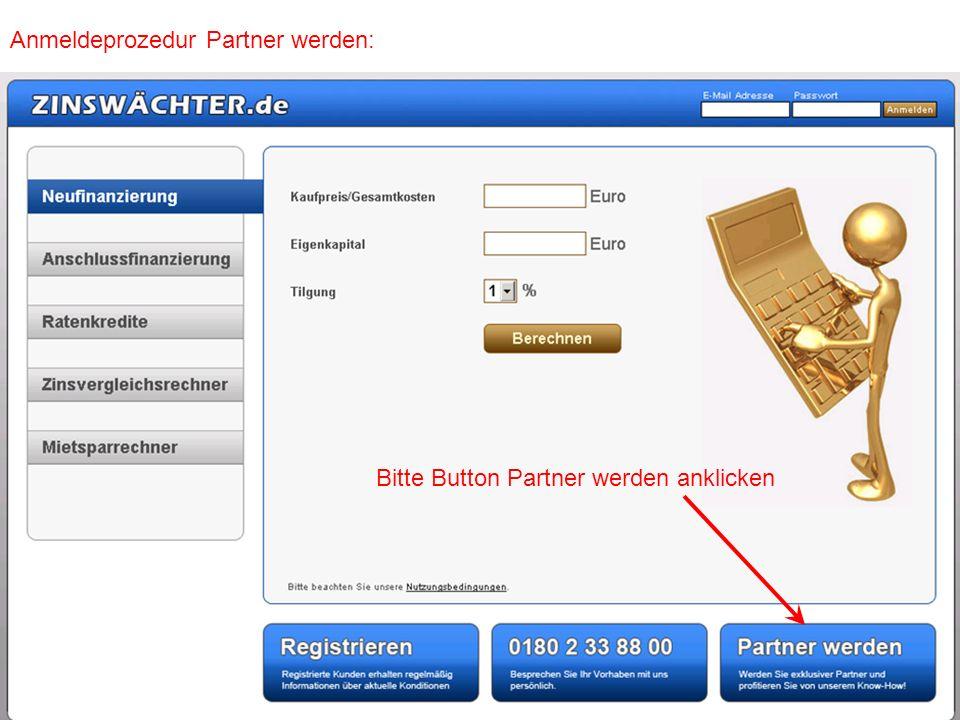 Anmeldeprozedur Partner werden: