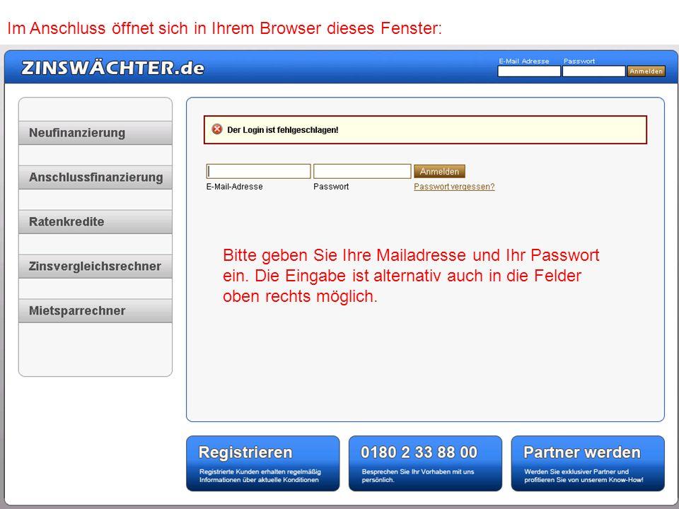 Im Anschluss öffnet sich in Ihrem Browser dieses Fenster: