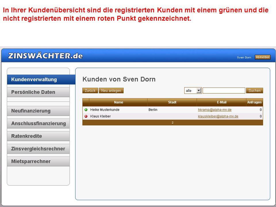 In Ihrer Kundenübersicht sind die registrierten Kunden mit einem grünen und die nicht registrierten mit einem roten Punkt gekennzeichnet.
