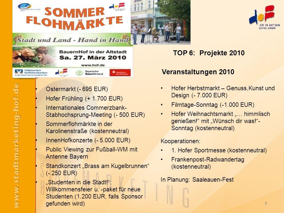 TOP 6: Projekte 2010 Veranstaltungen 2010