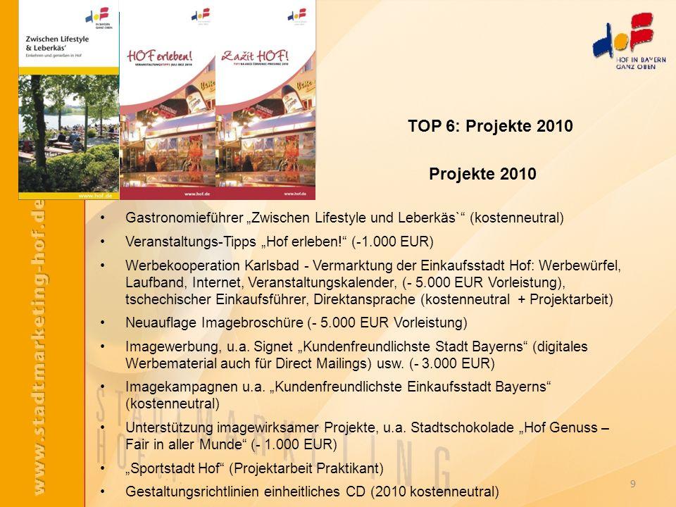 TOP 6: Projekte 2010 Projekte 2010
