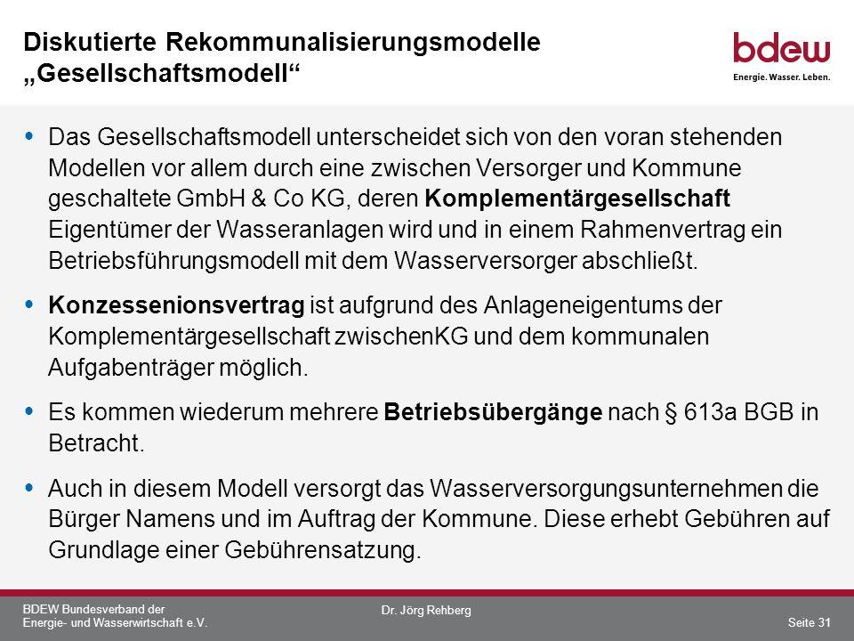 """Diskutierte Rekommunalisierungsmodelle """"Gesellschaftsmodell"""