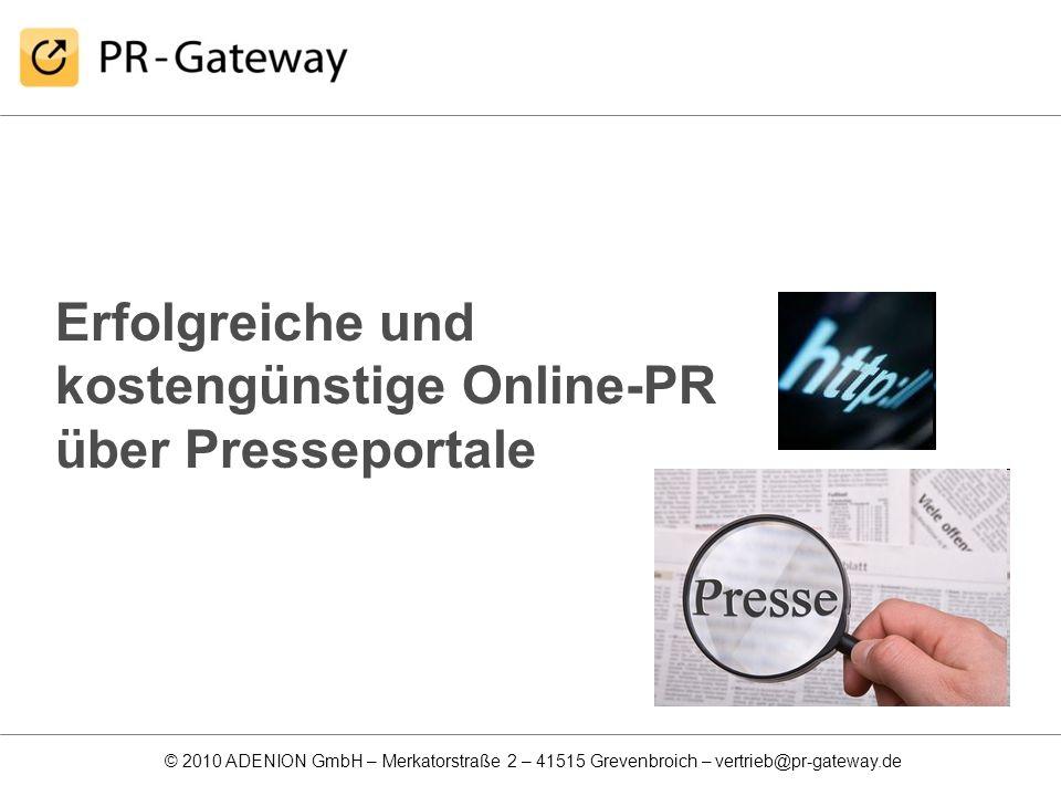 Erfolgreiche und kostengünstige Online-PR über Presseportale