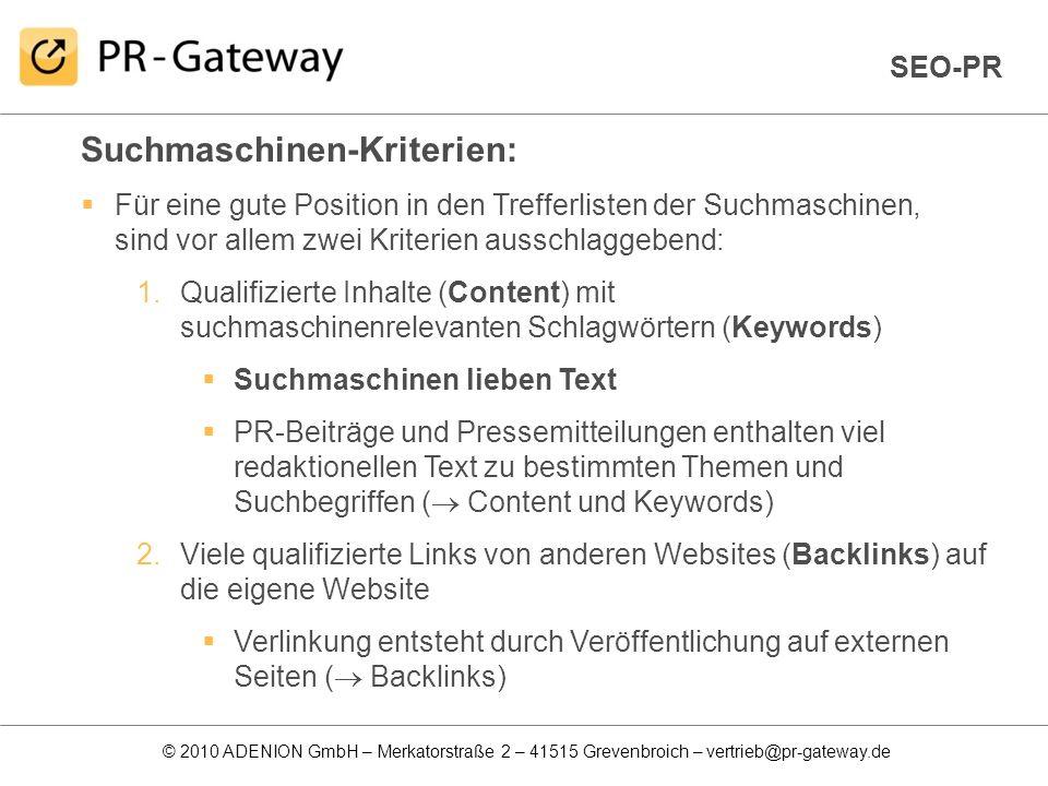 Suchmaschinen-Kriterien: