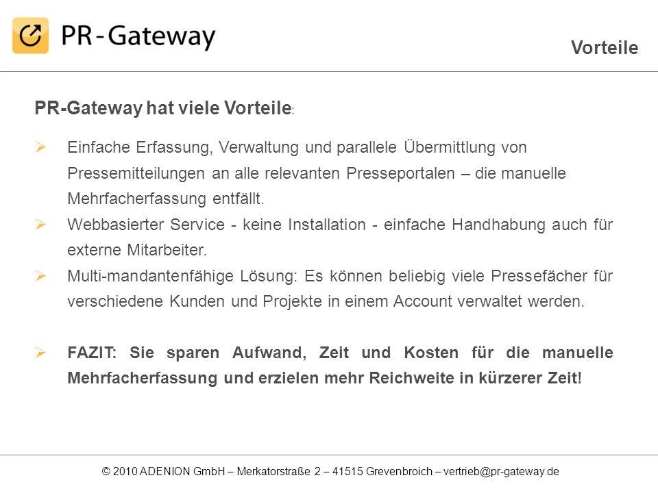 PR-Gateway hat viele Vorteile: