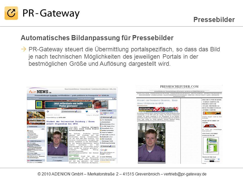 Automatisches Bildanpassung für Pressebilder