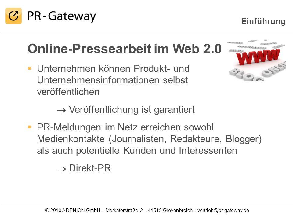 Online-Pressearbeit im Web 2.0