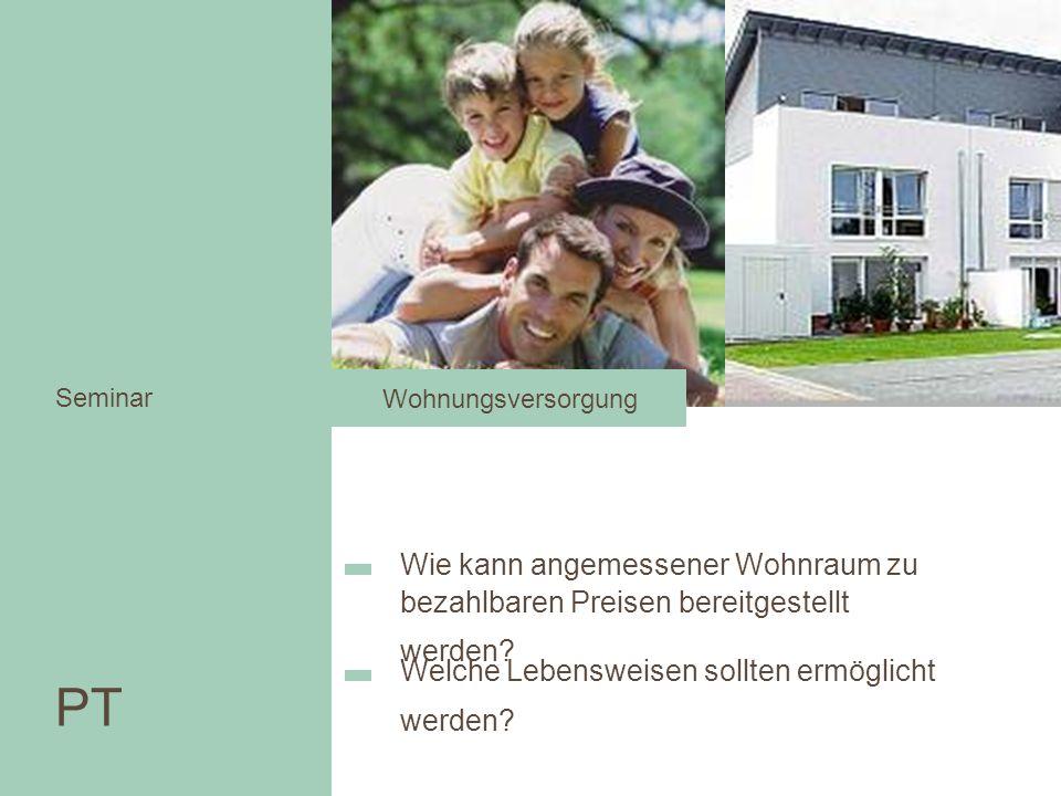 Seminar Wohnungsversorgung. Wohnen in der Stadt. Seminar. Wie kann angemessener Wohnraum zu bezahlbaren Preisen bereitgestellt werden