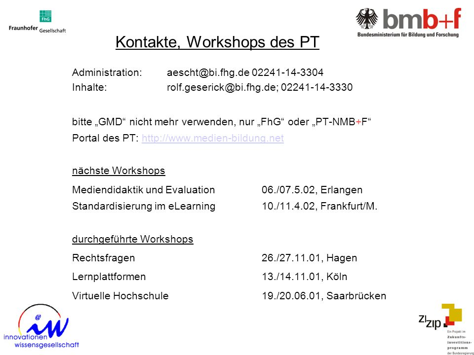 Kontakte, Workshops des PT