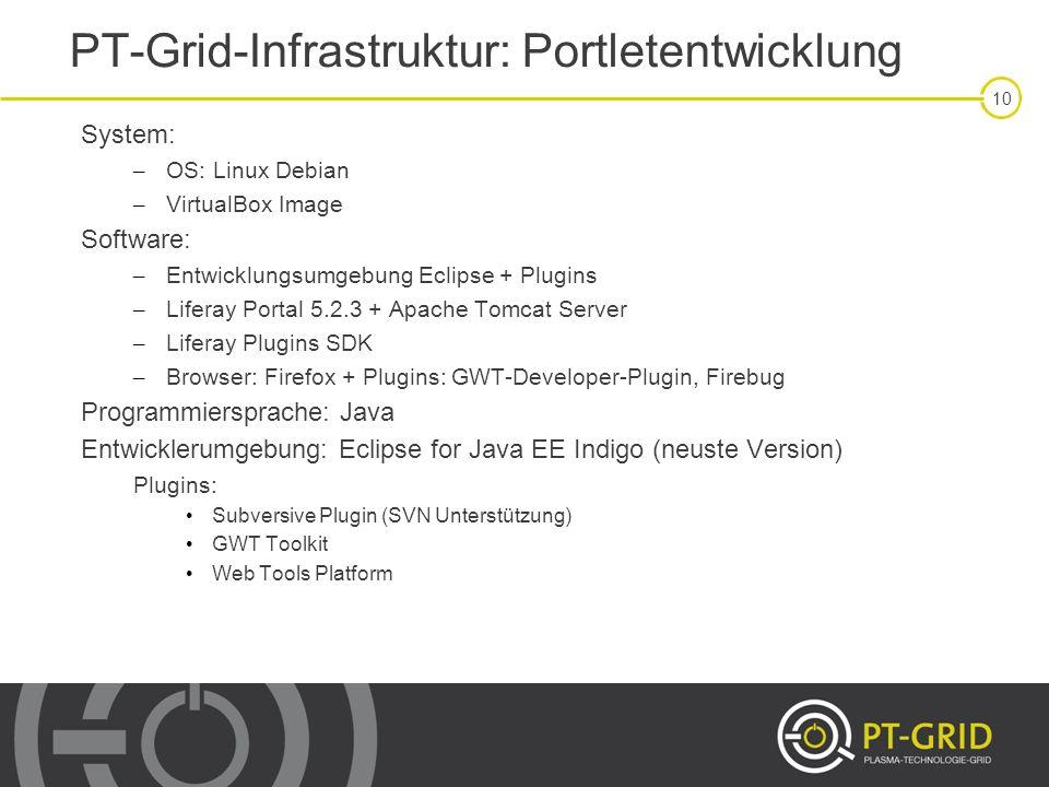 PT-Grid-Infrastruktur: Portletentwicklung