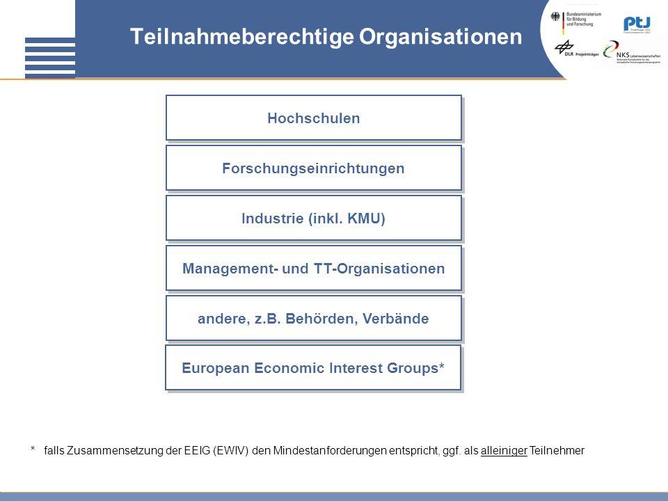 Teilnahmeberechtige Organisationen