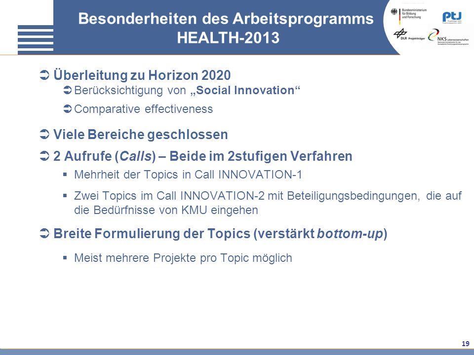 Besonderheiten des Arbeitsprogramms HEALTH-2013