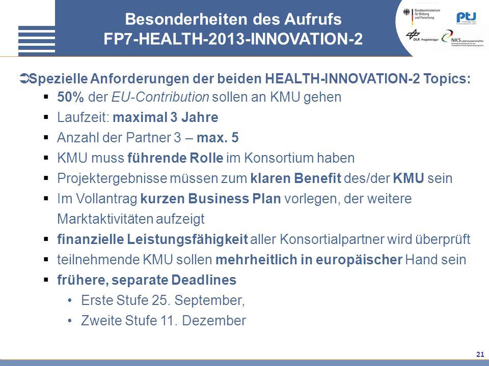 Besonderheiten des Aufrufs FP7-HEALTH-2013-INNOVATION-2