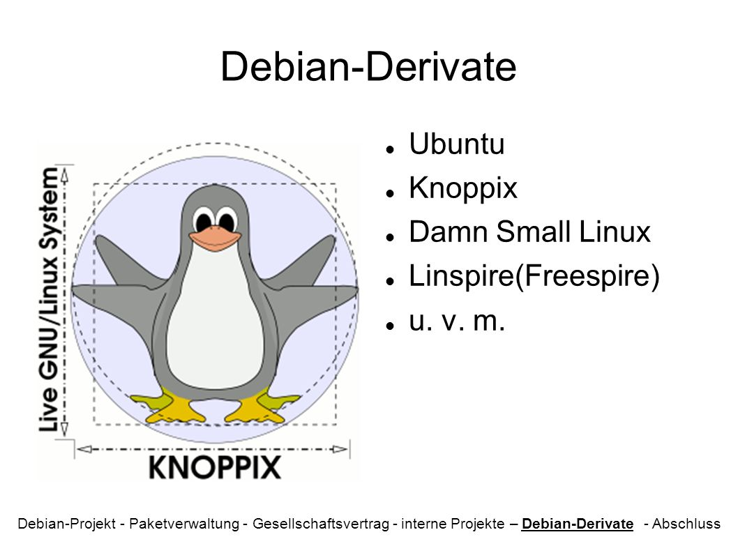 Debian-Derivate Ubuntu Knoppix Damn Small Linux Linspire(Freespire)