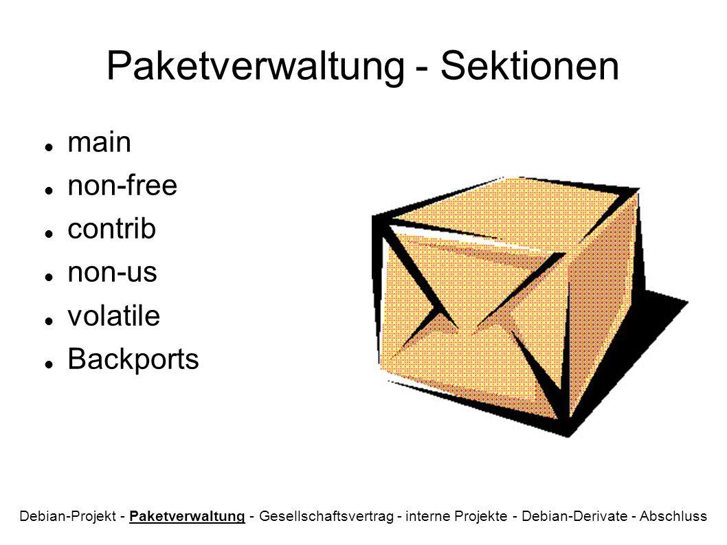 Paketverwaltung - Sektionen
