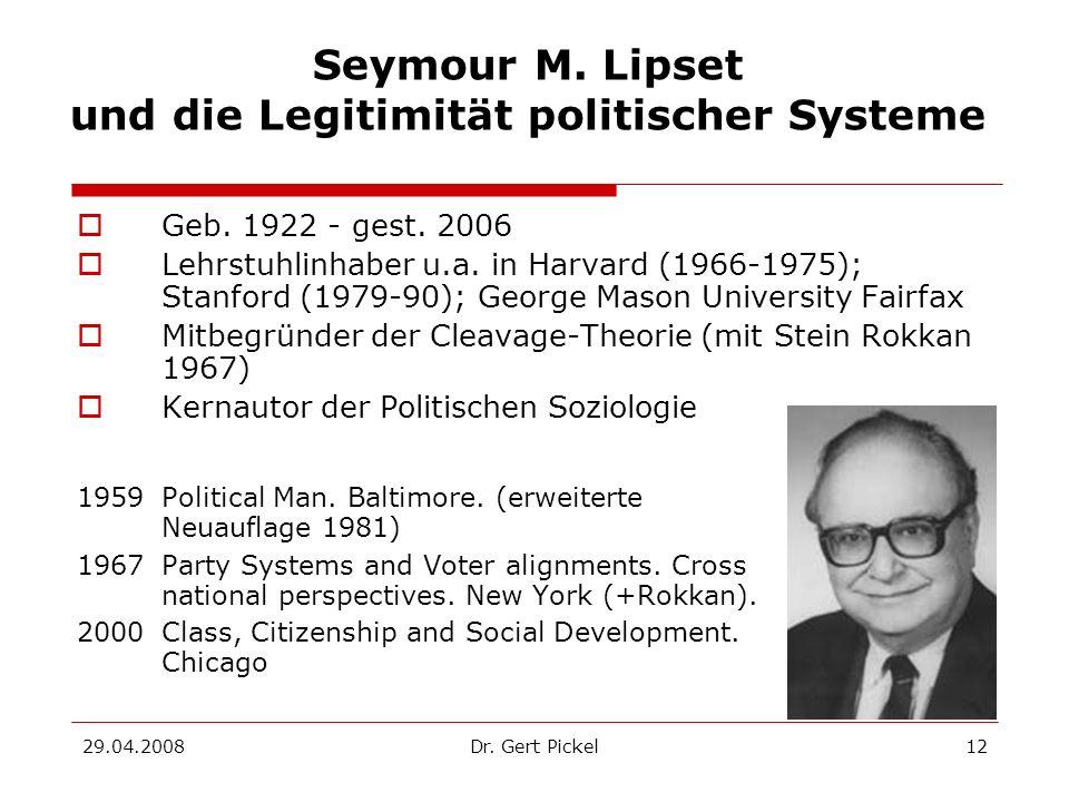 Seymour M. Lipset und die Legitimität politischer Systeme