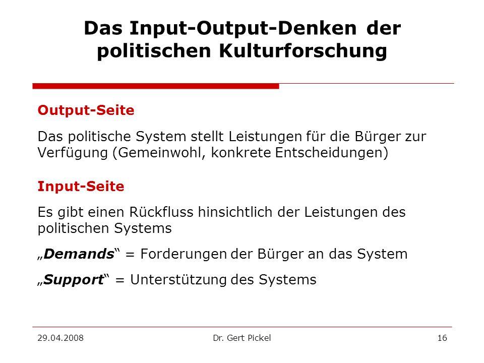 Das Input-Output-Denken der politischen Kulturforschung