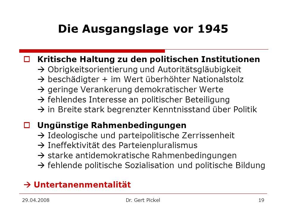 Die Ausgangslage vor 1945