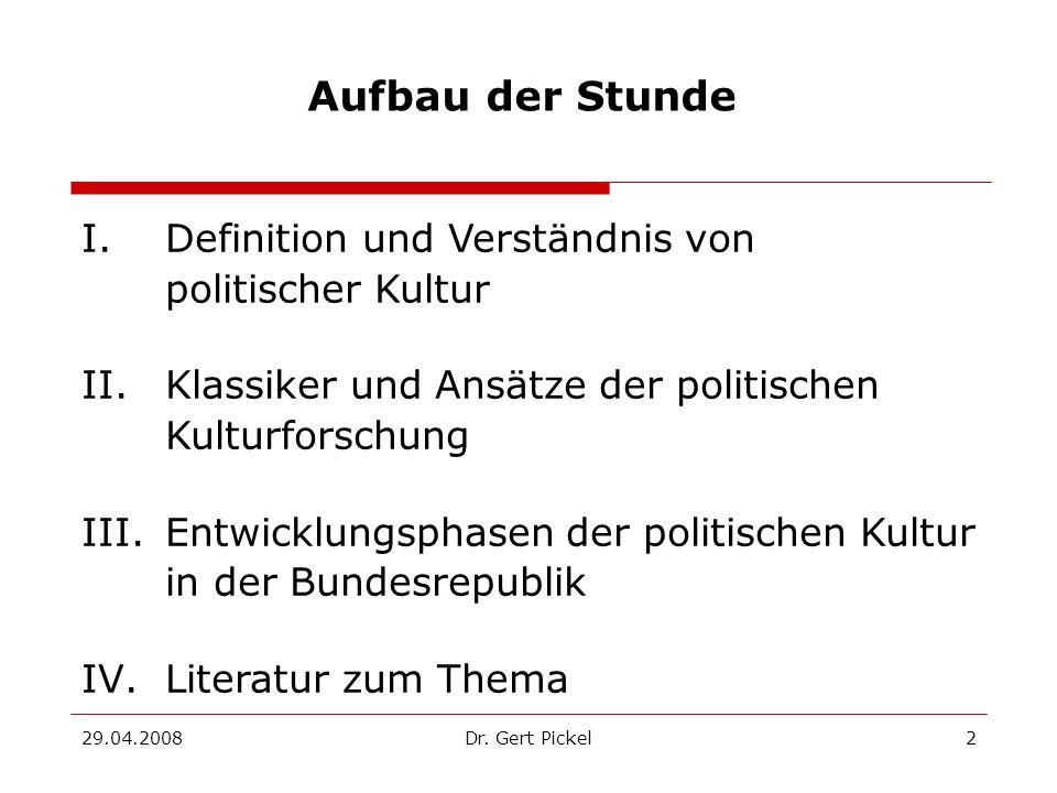 Aufbau der Stunde I. Definition und Verständnis von politischer Kultur