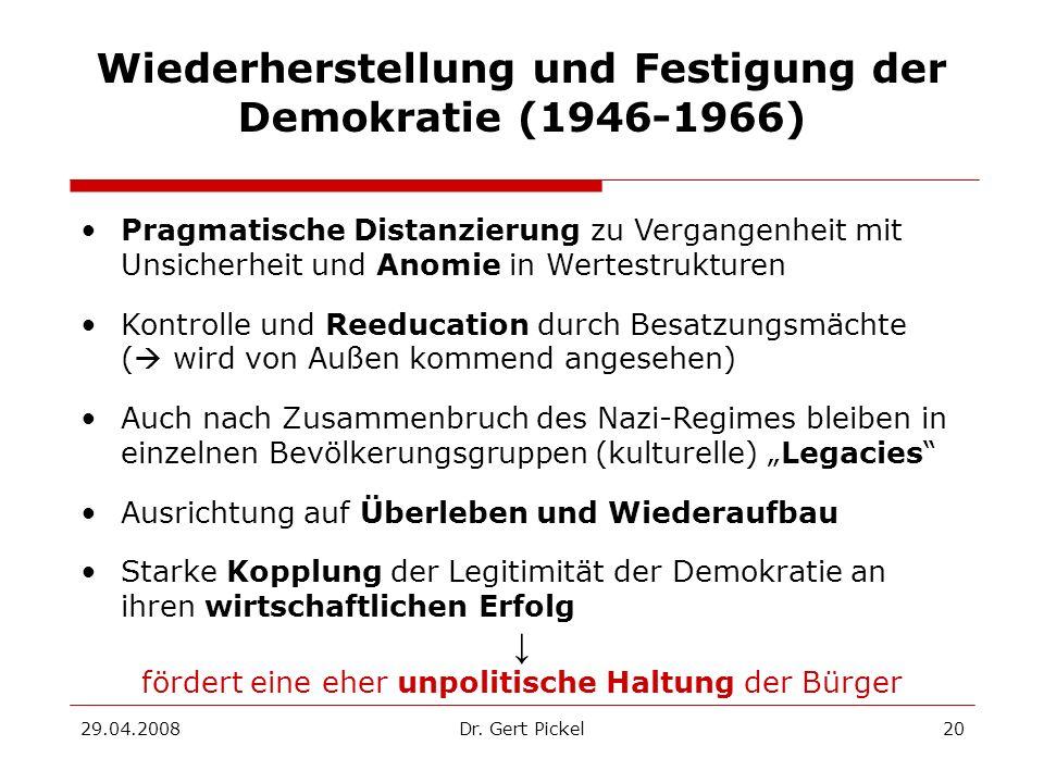 Wiederherstellung und Festigung der Demokratie (1946-1966)