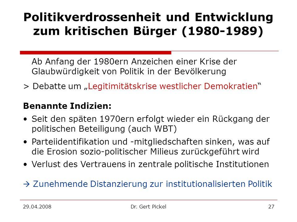 Politikverdrossenheit und Entwicklung zum kritischen Bürger (1980-1989)