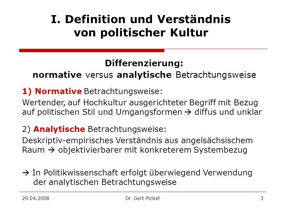I. Definition und Verständnis von politischer Kultur
