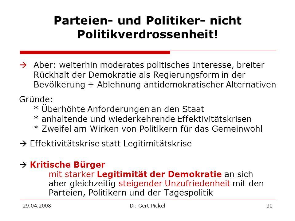 Parteien- und Politiker- nicht Politikverdrossenheit!