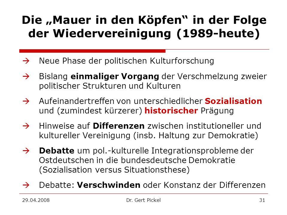 """Die """"Mauer in den Köpfen in der Folge der Wiedervereinigung (1989-heute)"""