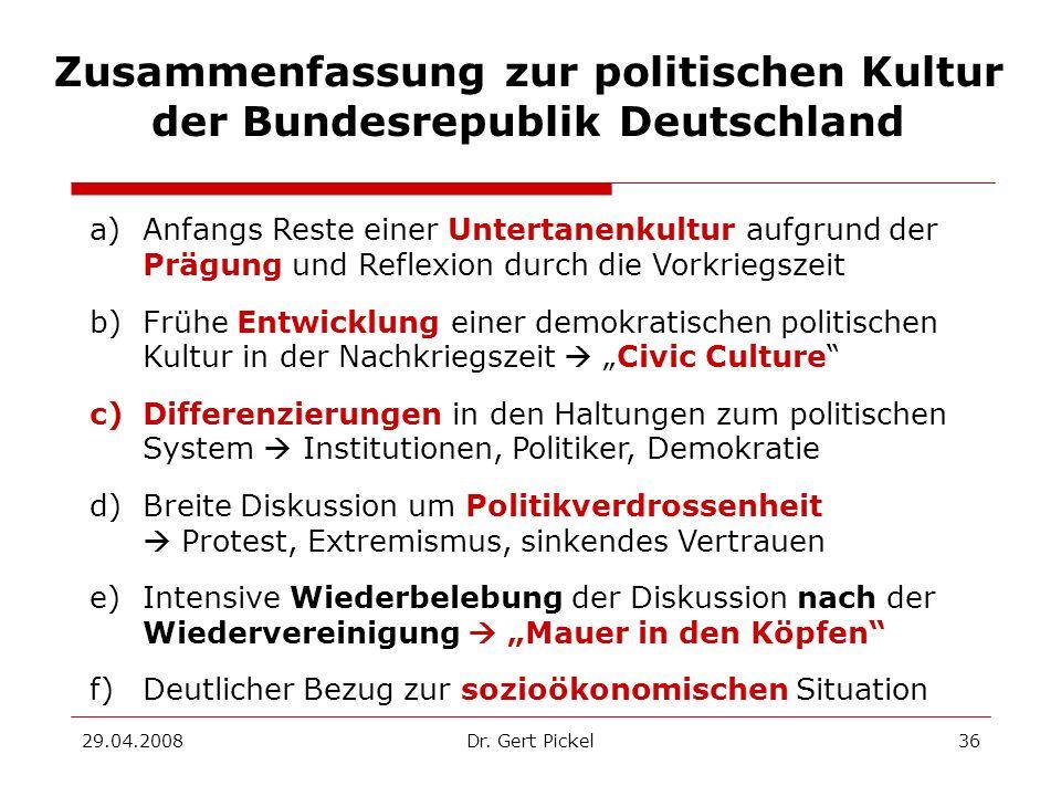 Zusammenfassung zur politischen Kultur der Bundesrepublik Deutschland