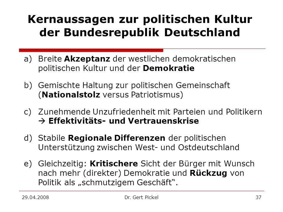 Kernaussagen zur politischen Kultur der Bundesrepublik Deutschland