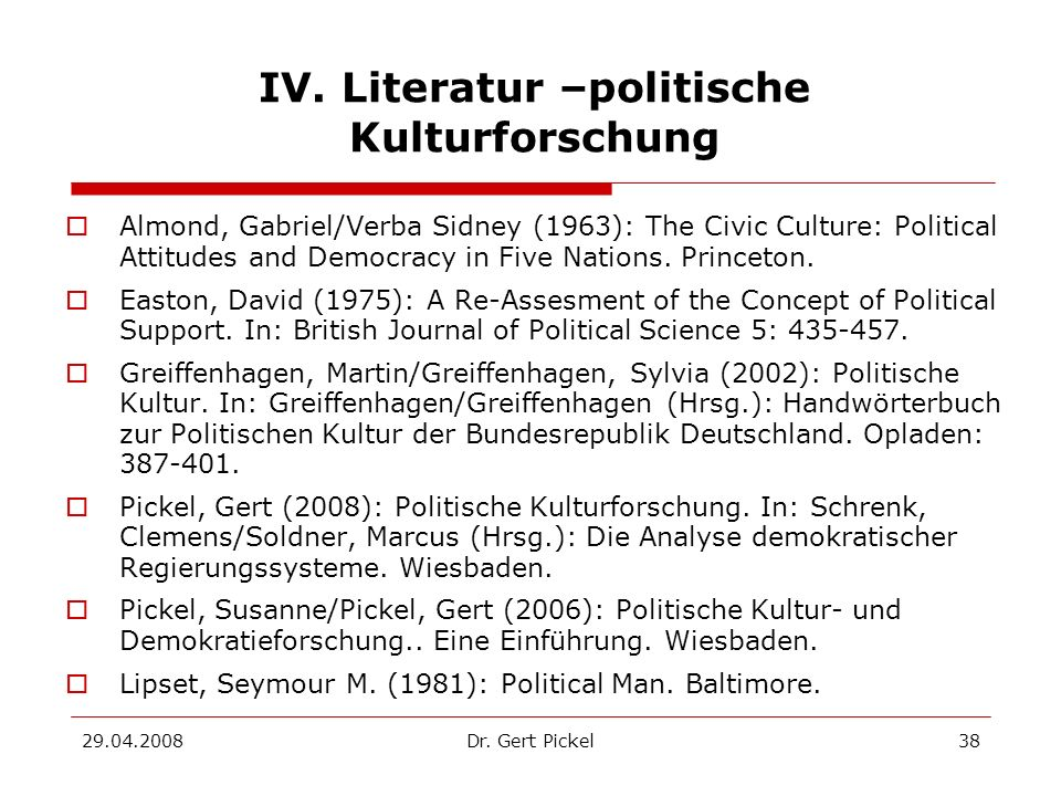 IV. Literatur –politische Kulturforschung