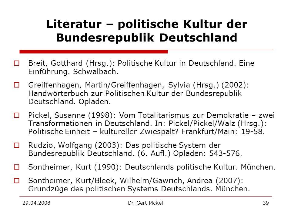 Literatur – politische Kultur der Bundesrepublik Deutschland