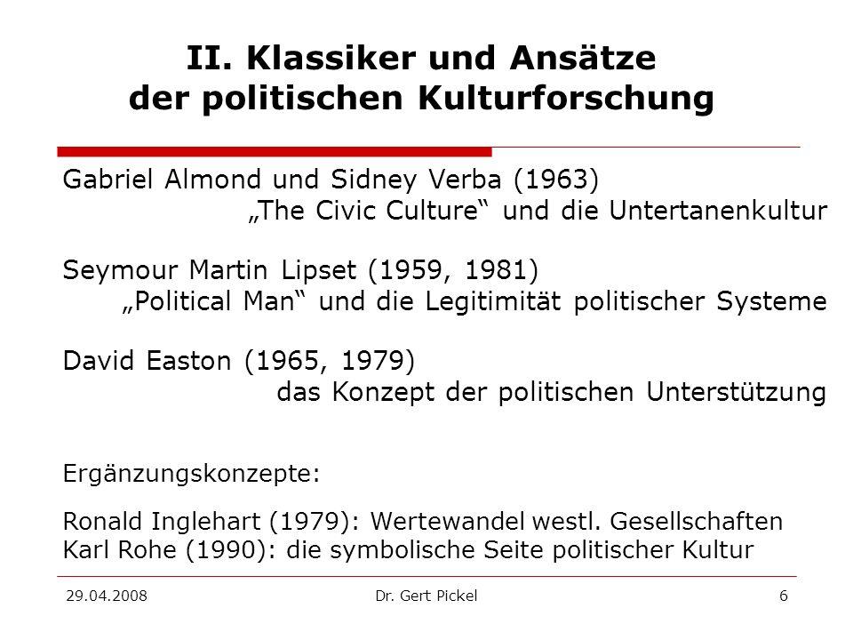 II. Klassiker und Ansätze der politischen Kulturforschung