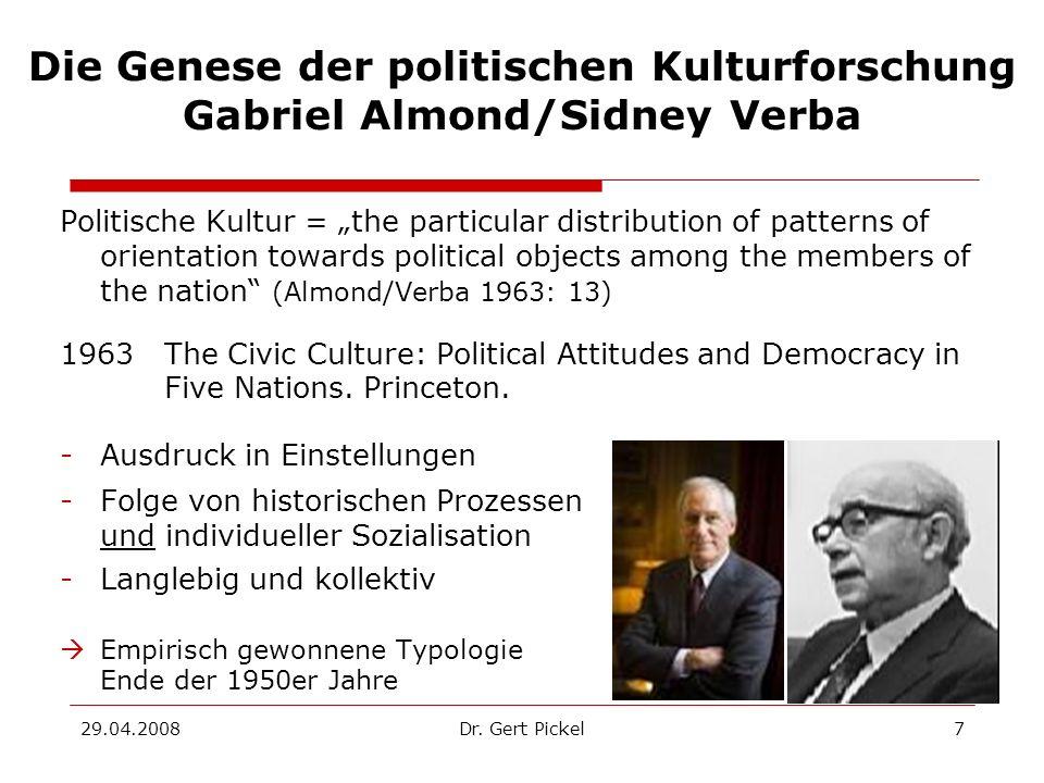 Die Genese der politischen Kulturforschung Gabriel Almond/Sidney Verba
